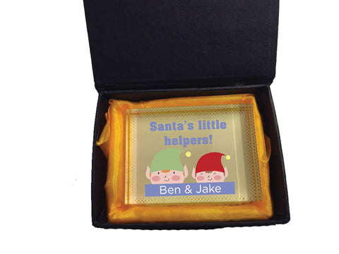 CC04 - Personalised Christmas Santa's Little Helpers with Children's Names Crystal Block & Gift Box