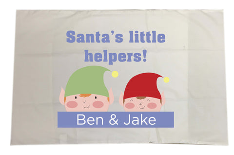 CC04 - Personalised Christmas Santa's Little Helpers with Children's Names White Pillow Case Cover