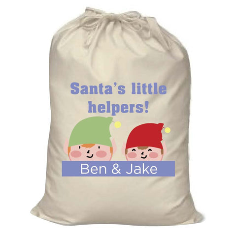 CC04 - Personalised Christmas Santa's Little Helpers with Children's Names Santa Sack