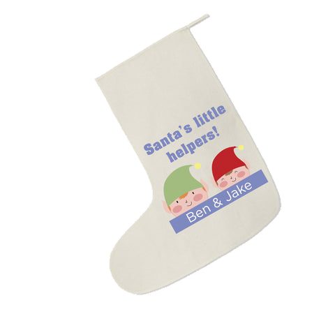 CC04 - Personalised Christmas Santa's Little Helpers with Children's Names Santa Stocking