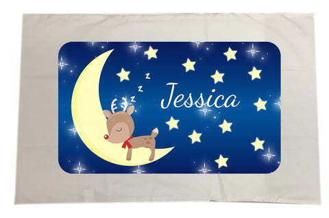 PC05 - Personalised Sleeping Cute Reindeer on the Moon Christmas Pillow Case Cover