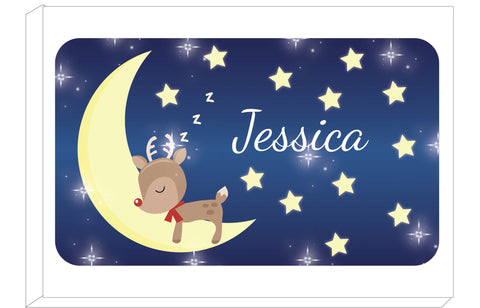PC05 - Personalised Sleeping Cute Reindeer on the Moon Christmas Canvas Print