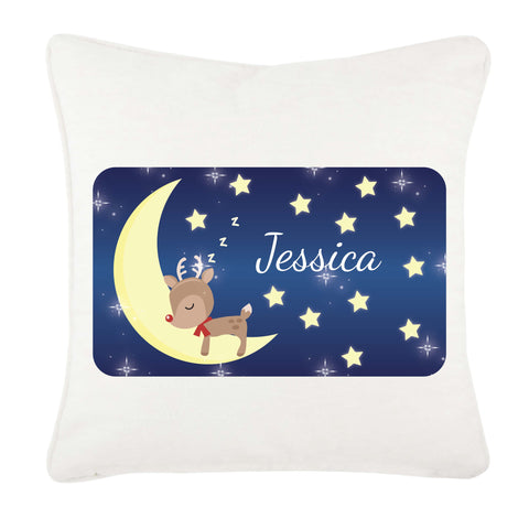 PC05 - Personalised Sleeping Cute Reindeer on the Moon Christmas Cushion Cover