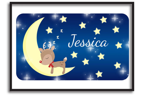 PC05 - Personalised Sleeping Cute Reindeer on the Moon Christmas Print