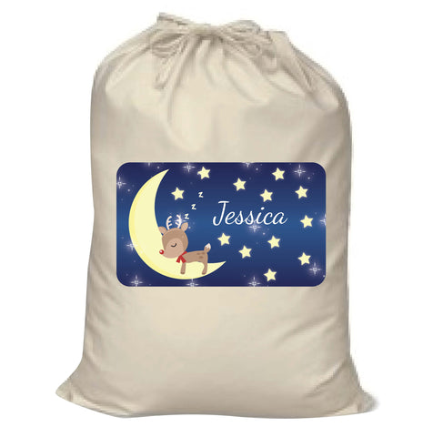 PC05 - Personalised Sleeping Cute Reindeer on the Moon Christmas Canvas Santa Sack