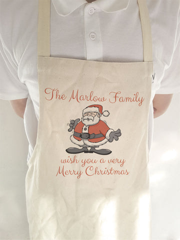 CC06 - Personalised Christmas Your Family Name wish you a very Merry Christmas Canvas Apron
