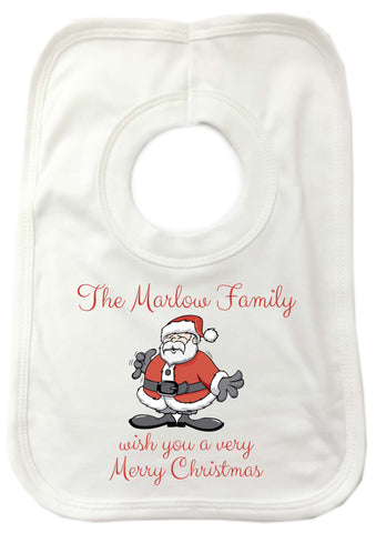 CC06 - Personalised Christmas The (Your Family Name) wish you a very Merry Christmas Baby Bib