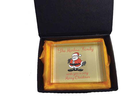 CC06 - Personalised (Your Family Name) wish you a very Merry Christmas Crystal Block & Gift Box