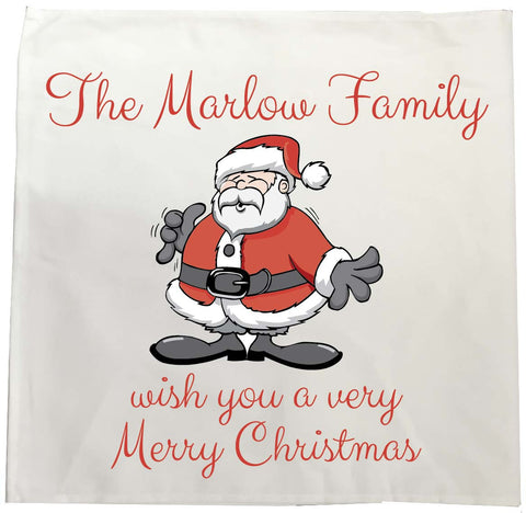 CC06 -Personalised Christmas The (Your Family Name) wish you a very Merry Christmas Tea Towel