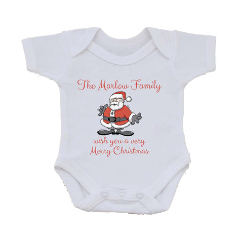 CC06 - Personalised Christmas The (Your Family Name) wish you a very Merry Christmas Baby Vest