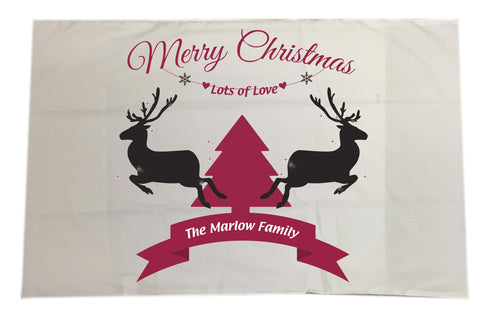 CC07 - Personalised Christmas Reindeers and Tree with (Your Family Name) White Pillow Case Cover