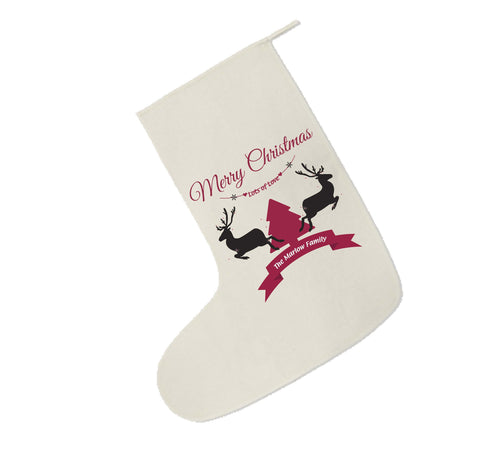 CC07 - Personalised Christmas Reindeers & Tree with Family Name in ribbon Canvas Santa Stocking