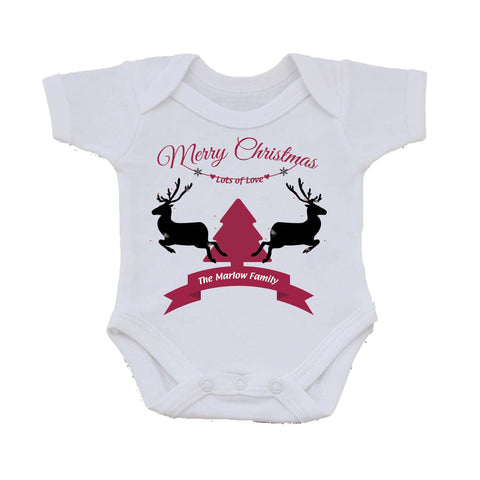 CC07 - Personalised Christmas Reindeers & Tree with Your Family Name in a ribbon on Baby Vest