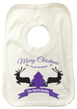 CC07 - Personalised Merry Christmas Reindeers & Tree with Your Family Name in a ribbon Baby Bib