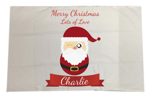 CC08 - Personalised Christmas Cute Santa with Name inserted on a White Pillow Case Cover
