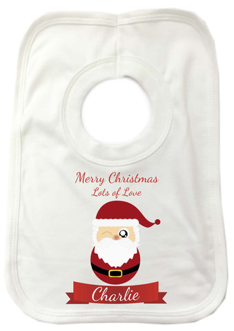 CC08 - Personalised Christmas Cute Santa with Name inserted on a Baby Bib