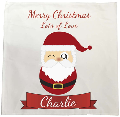 CC08 - Personalised Christmas Cute Santa with Name inserted on a Tea Towel. Change the name to suit.