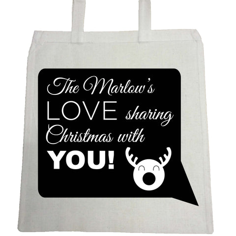 CC09 -Personalised The (Your name) Love Sharing Christmas With You Canvas Bag for Life