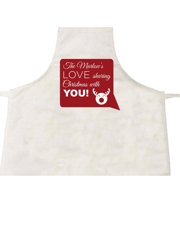 CC09 - Personalised The (Your Family Name) Love Sharing Christmas With You Canvas Apron
