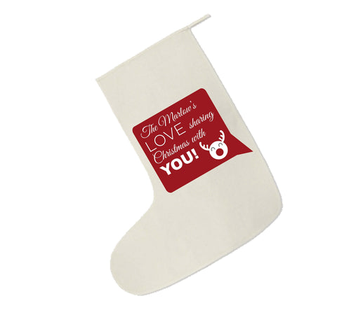 CC09 -Personalised Your name Love Sharing Christmas With You Canvas Santa Stocking