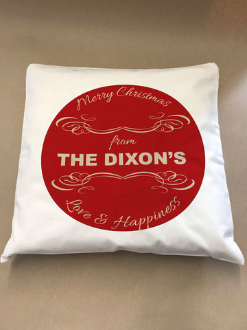 CC10 - Personalised Merry Christmas From (Your Family Name) Canvas Cushion Cover