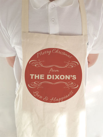 CC10 - Personalised Merry Christmas From (Your Family Name) on a Canvas Apron