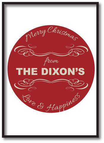 CC10 - Personalised Merry Christmas From (Your Family Name) Print