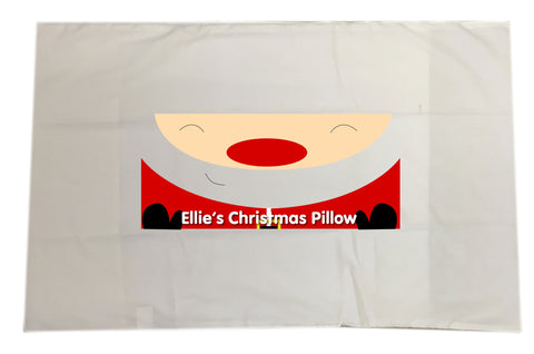 CM01 - Happy Smiley Santa Christmas Personalised White Pillow Case Cover