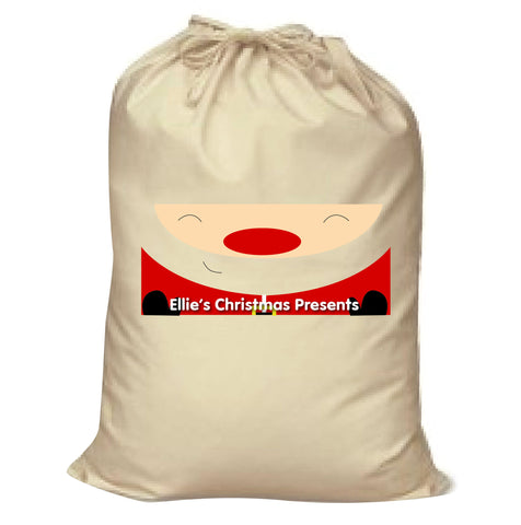 CM01 - Happy Smiley Santa Christmas Personalised Canvas Santa Sack