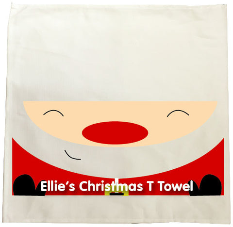 CM01 - Happy Smiley Santa Christmas Personalised Tea Towel