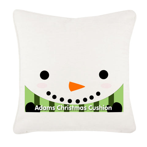 Happy Smiley Snowman Christmas Personalised Canvas Cushion Cover