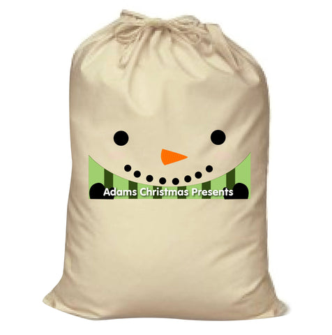 CM02 - Happy Smiley Snowman Christmas Personalised Canvas Santa Sack