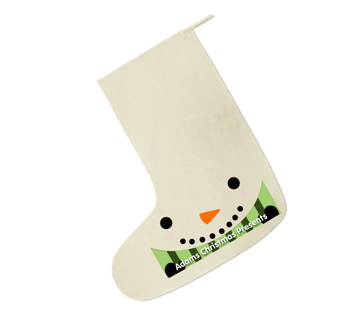 CM02 - Happy Smiley Snowman Christmas Personalised Canvas Santa Stocking