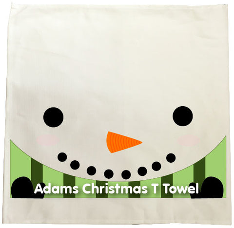 CM02 - Happy Smiley Snowman Christmas Personalised Tea Towel