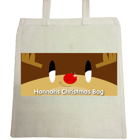 CM03 - Happy Smiley Reindeer Christmas Personalised Canvas Bag for Life