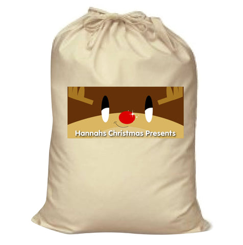 CM03 - Happy Smiley Reindeer Christmas Personalised Canvas Santa Sack