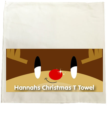 CM03 - Happy Smiley Reindeer Christmas Personalised Tea Towel