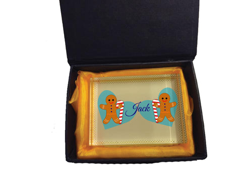 CM04 - Personalised Ginger Bread Cookies Christmas Boys Crystal Block with Presentation Gift Box