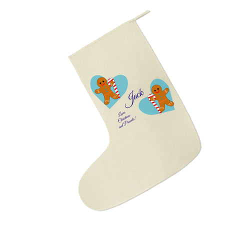 CM04 - Personalised Ginger Bread Cookies Christmas Boys Canvas Santa Stocking