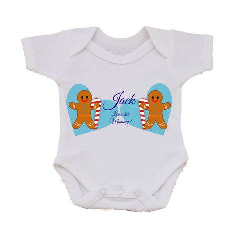 CM04 - Personalised Ginger Bread Cookies Christmas Boys Baby Vest