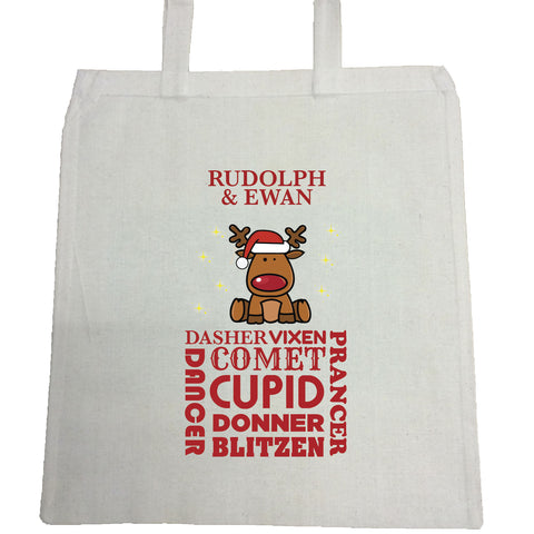CM07 - Personalised Rudolf & Reindeer Names Christmas Canvas Bag for Life