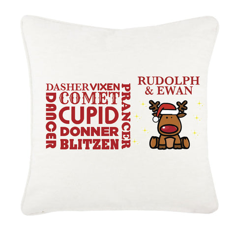 CM07 - Personalised Rudolf & Reindeer Names Christmas Canvas Cushion Cover