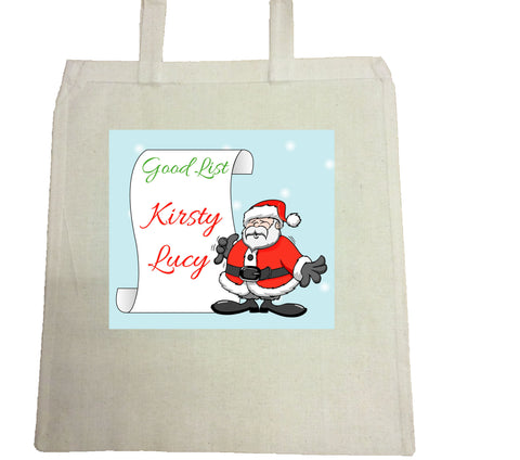 CM08 - Personalised Santa's Good List Christmas Canvas Bag for Life