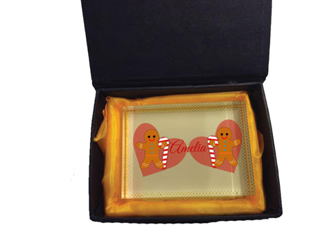 CM09 - Personalised Ginger Bread Cookies Christmas Girls Crystal Block with Presentation Gift Box