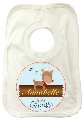 CM10 - Personalised Sleeping Reindeer Christmas Baby Bib