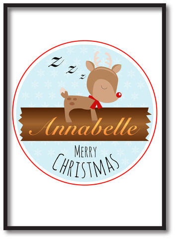CM10 - Personalised Sleeping Reindeer Christmas Print