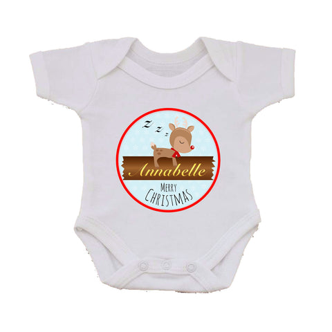 CM10 - Personalised Sleeping Reindeer Christmas Baby Vest