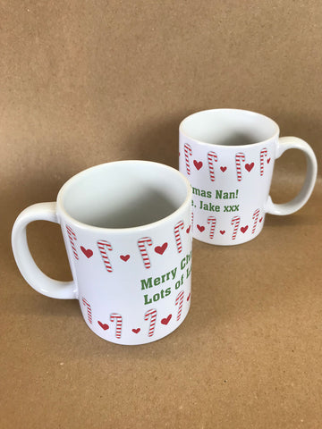 CM11 - Dancing Candy Canes Christmas Personalised Mug & White Gift Box