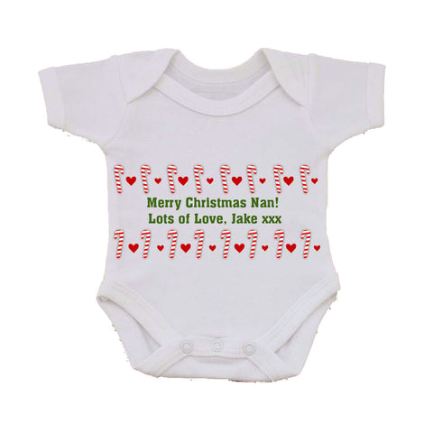 CM11 - Dancing Candy Canes Christmas Personalised Baby Vest