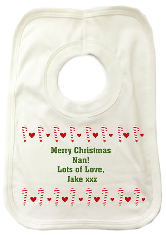 CM11 - Dancing Candy Canes Christmas Personalised Baby Bib